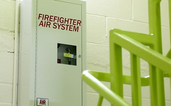 Firefighter Air System at top of stairwell