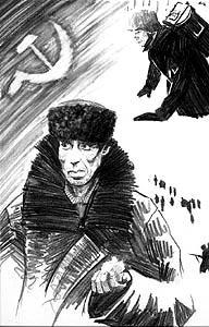 Drawing of the battle of Leningrad