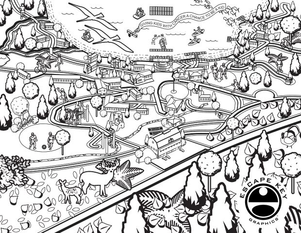 illustrated camp map coloring page