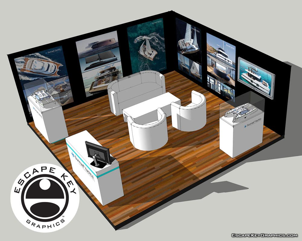 3D rendering of a trade show booth