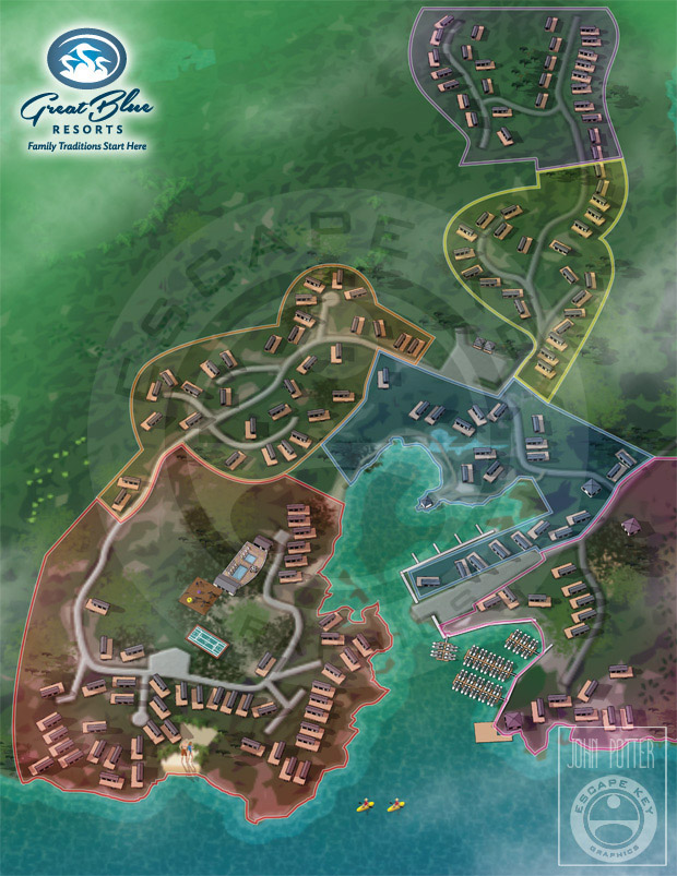 Illustrated map of vacation cabins