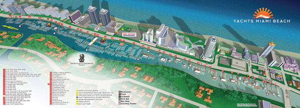 illustrated map for the 2016 Yachts Miami Beach Boat Show