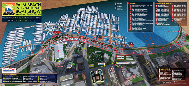 2013 Palm Beach Boat International Show Map