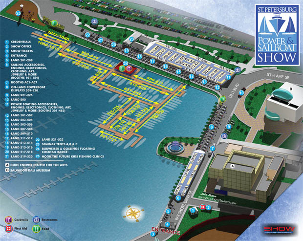 illustrated map for the 2014 Saint Petersburg Power & Sailboat Show