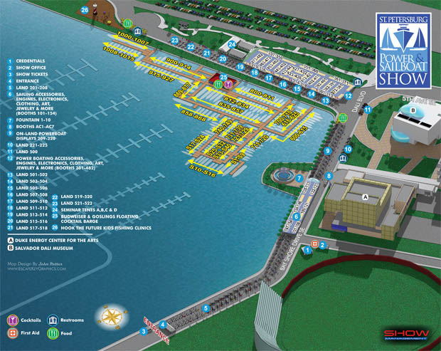 illustrated map for the 2015 Saint Petersburg Power & Sailboat Show - Marina Maps