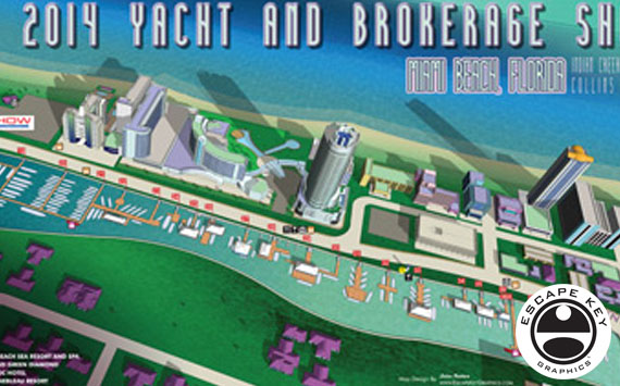 Illustrated Maps for a Brokerage Show in Miami Beach
