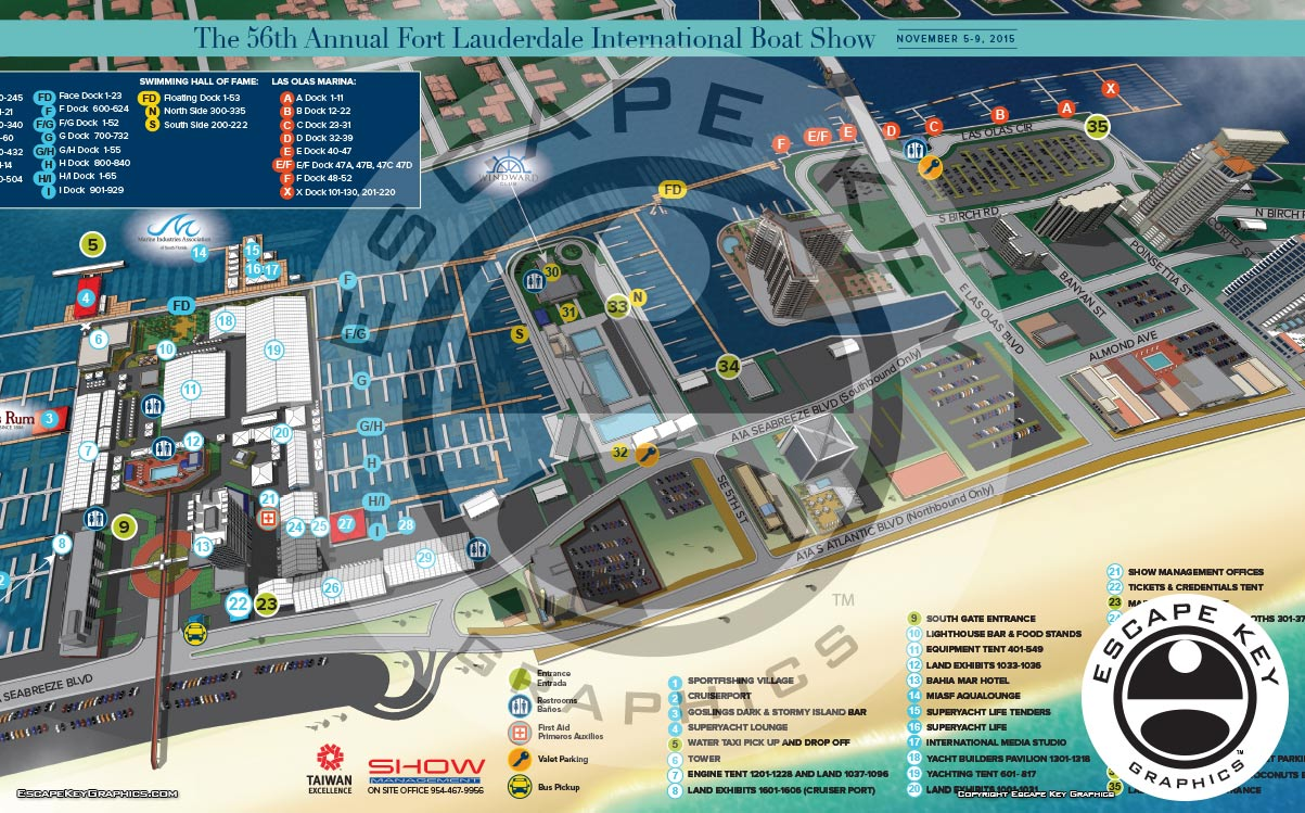 Map Designs And Illustrations For A Big Boat Show