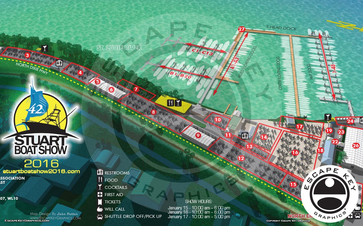 Illustration of a Marina and Area for a  Boat Show Map