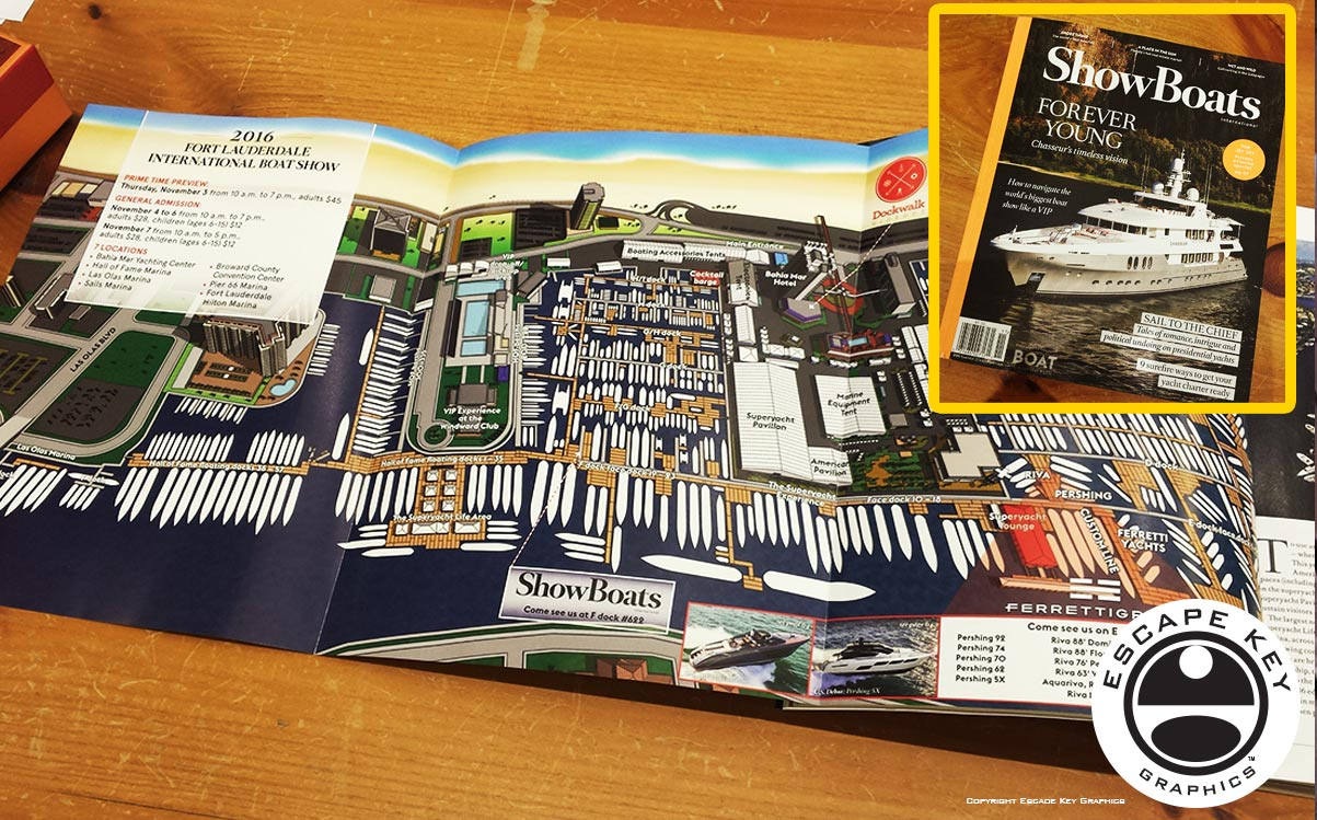 Illustrated Boat Show Map in a Magazine