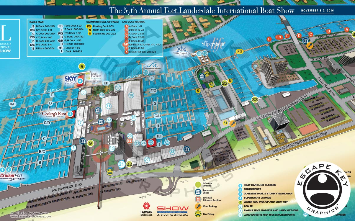 Illustrated Maps for a Huge Boat Show