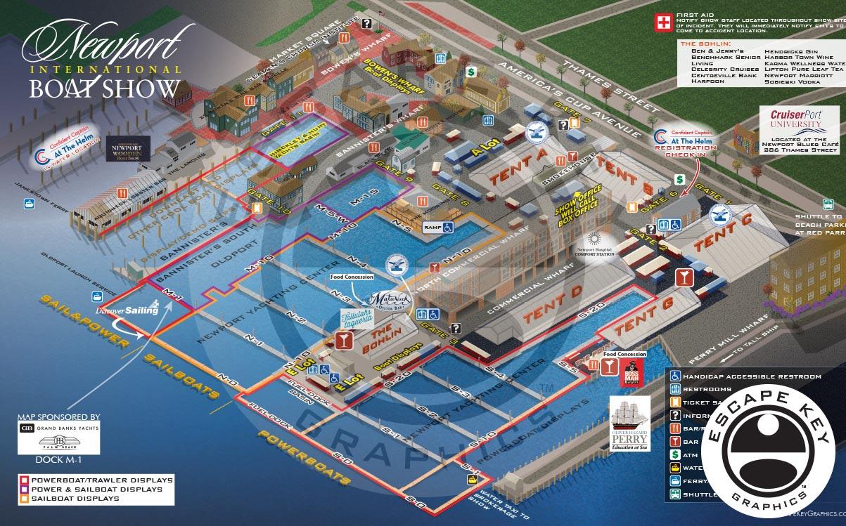 An International Boat Show Map Illustration