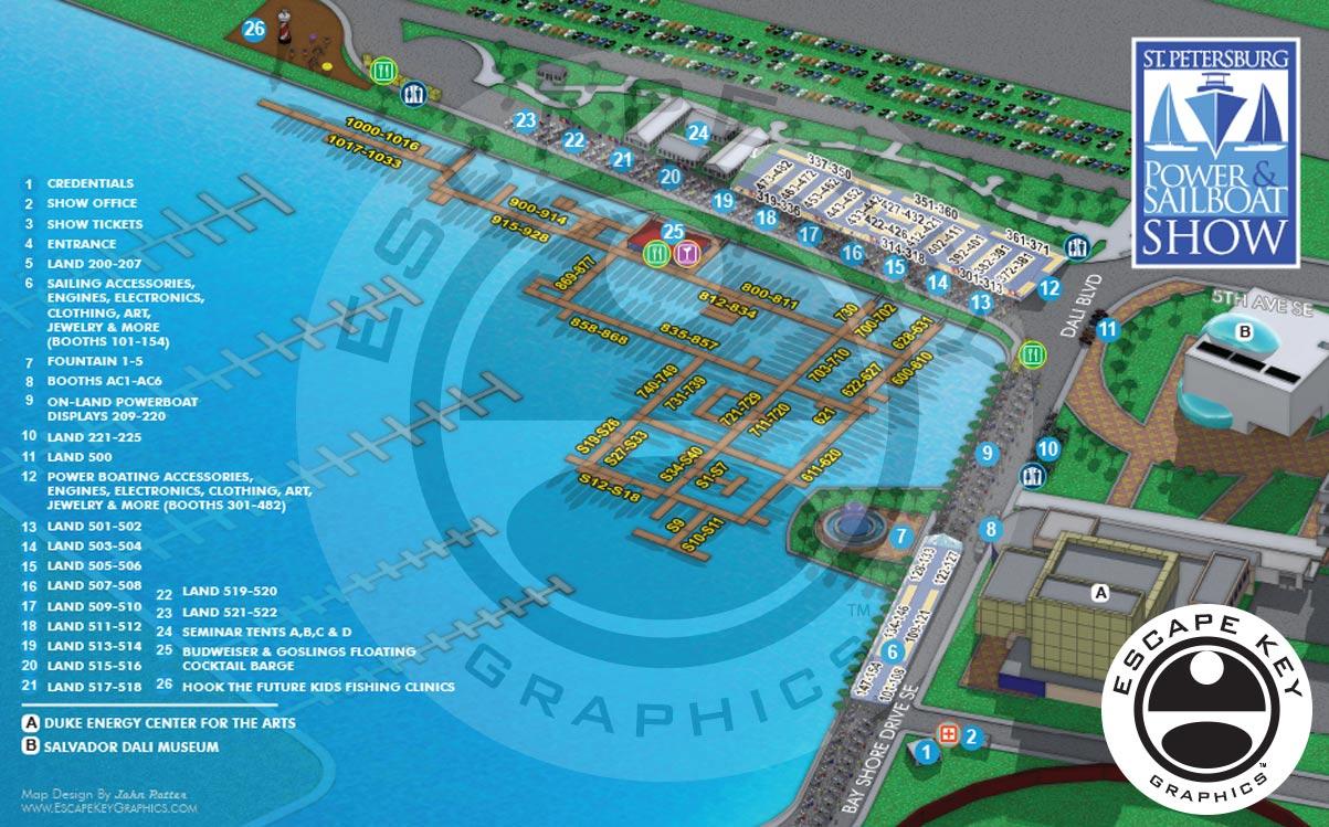 Illustration of a Boat Show and Adjacent Landmarks