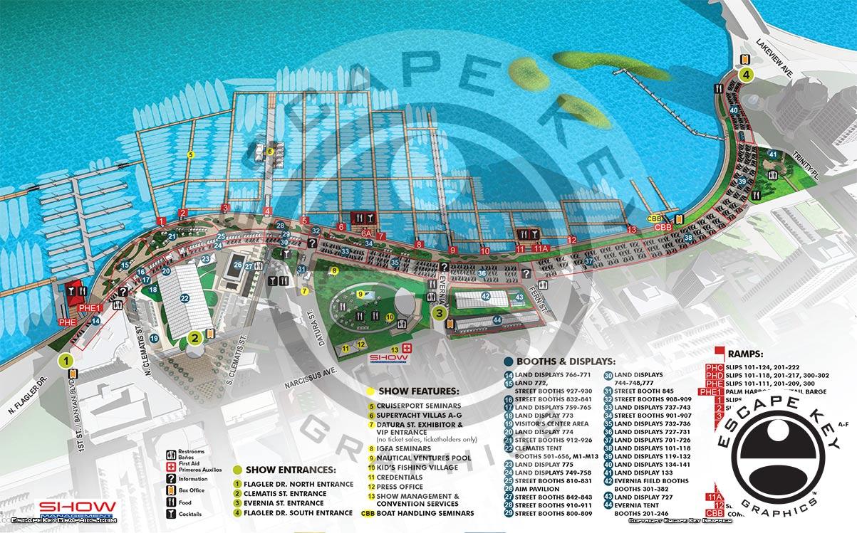 Palm Beach Boat Show Map Illustration