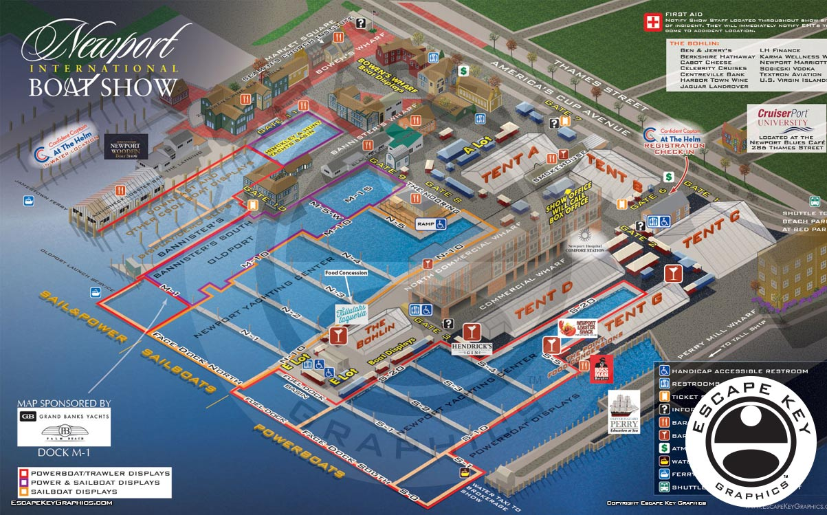 Illustrated Vector Map of a Boat Show