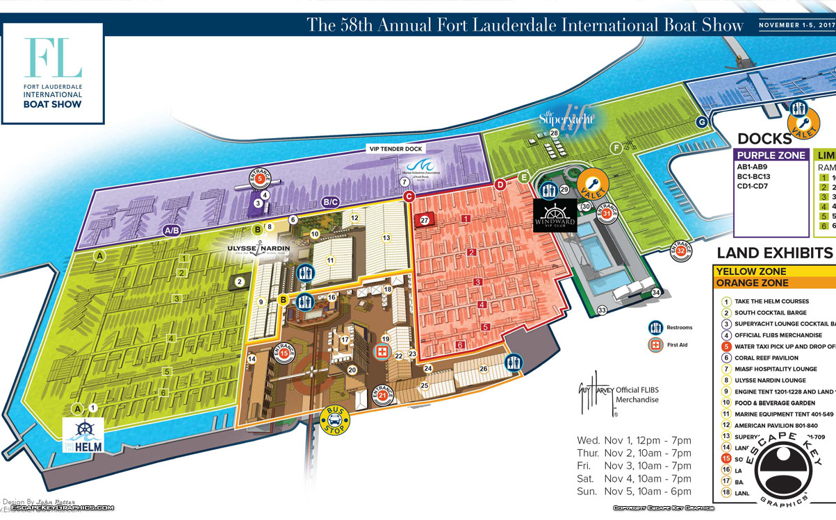 Maps for Fort Lauderdale International Boat Show 2017