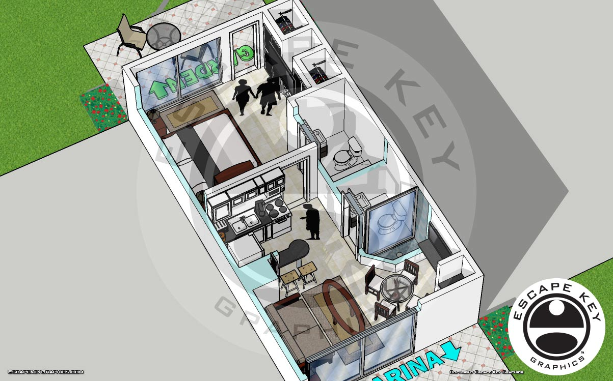 Resort Room Renderings - Illustrations of Accommodations