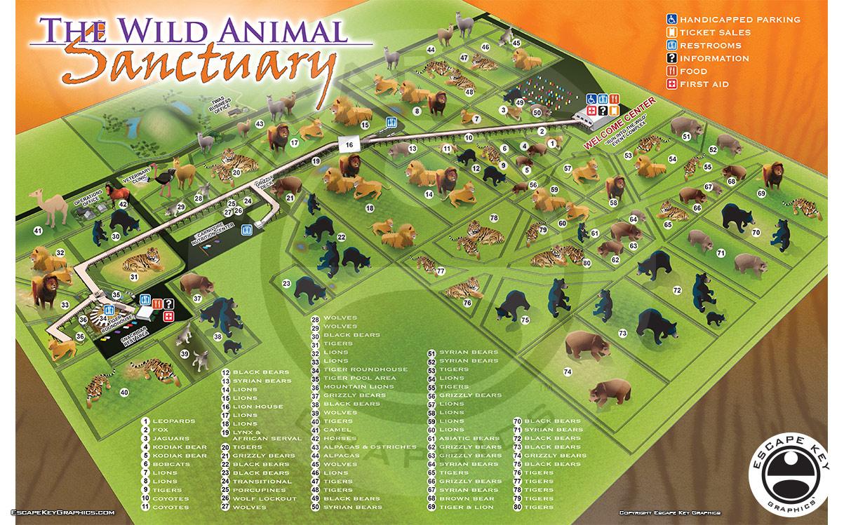 Updated Wild Animal Sanctuary Map