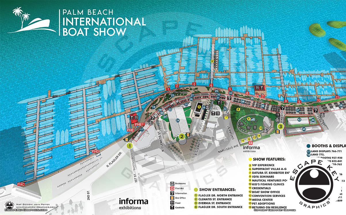 Palm Beach International Boat Show Custom Illustrated Maps for 2018