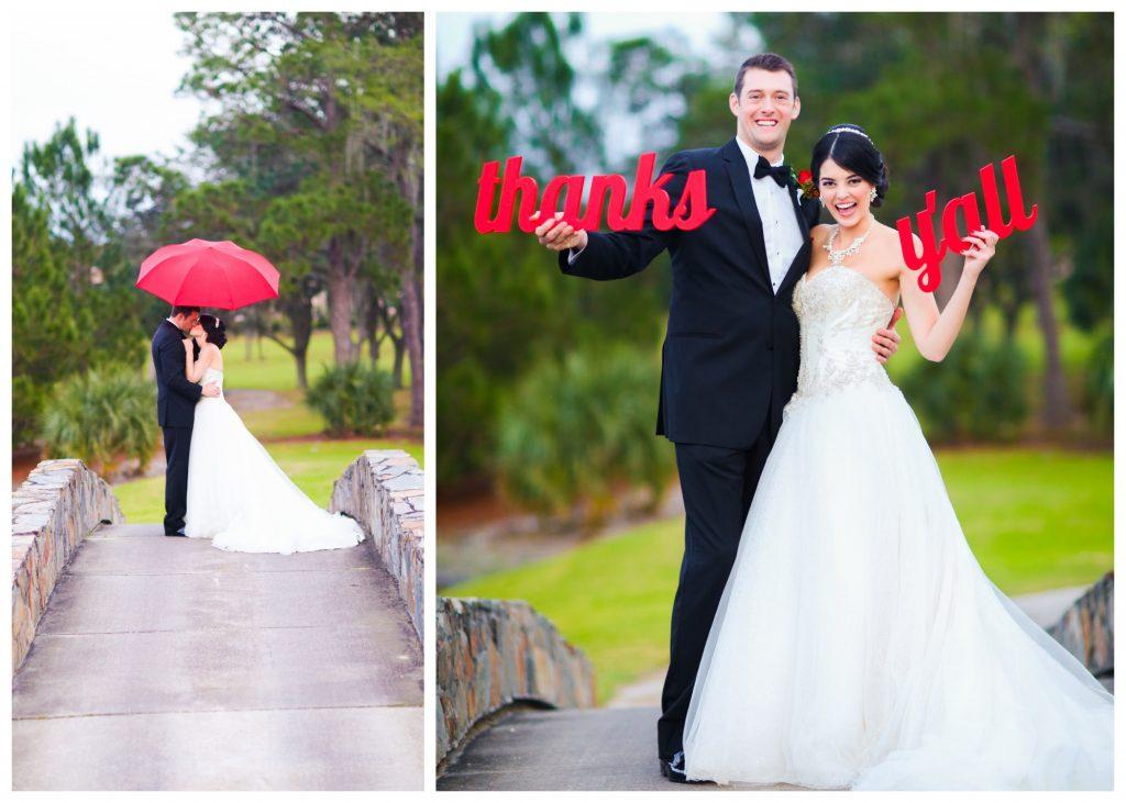 "Wedding Photo Shoot Bride & Groom ""Thanks Y'all"" Signs Umbrella Red Bridge Outdoor   Red & Black Wedding Classic Romantic Dark Mission Inn Resort Anna Christine Events Wings of Glory Photography"