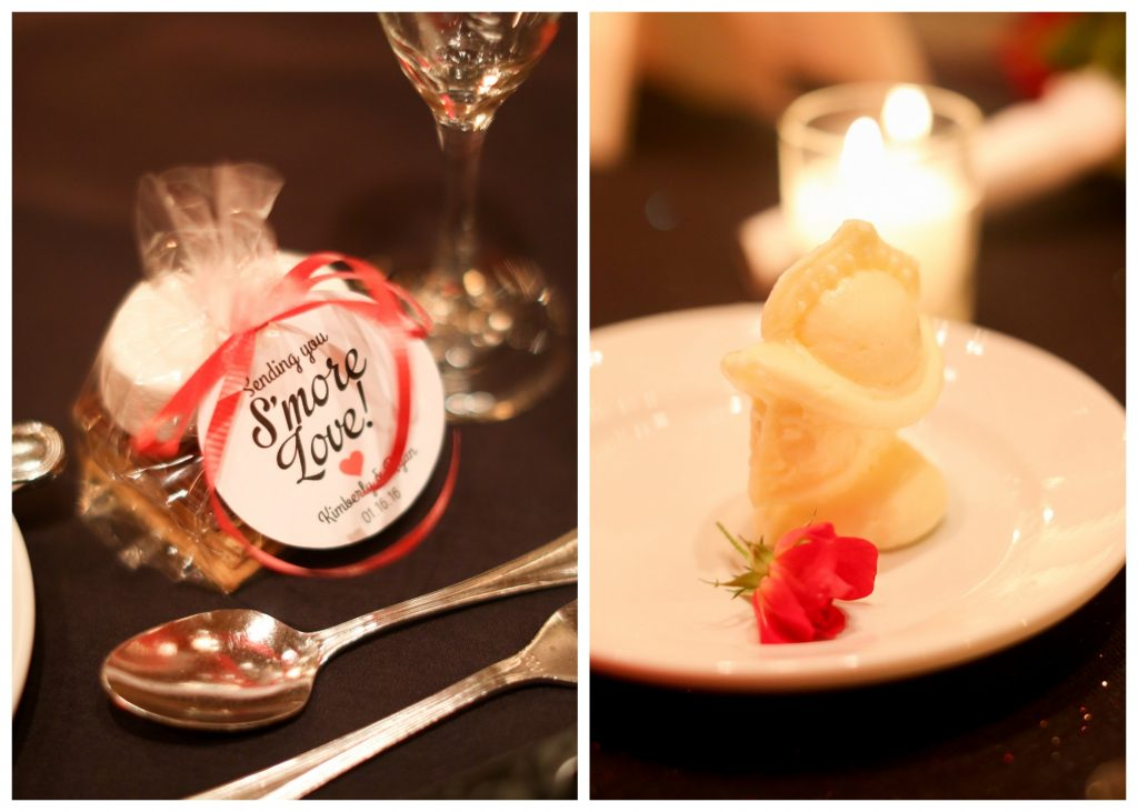 Reception Table Setting Fancy Butter Knight S'More Favor   Red & Black Wedding Classic Romantic Dark Mission Inn Resort Anna Christine Events Wings of Glory Photography