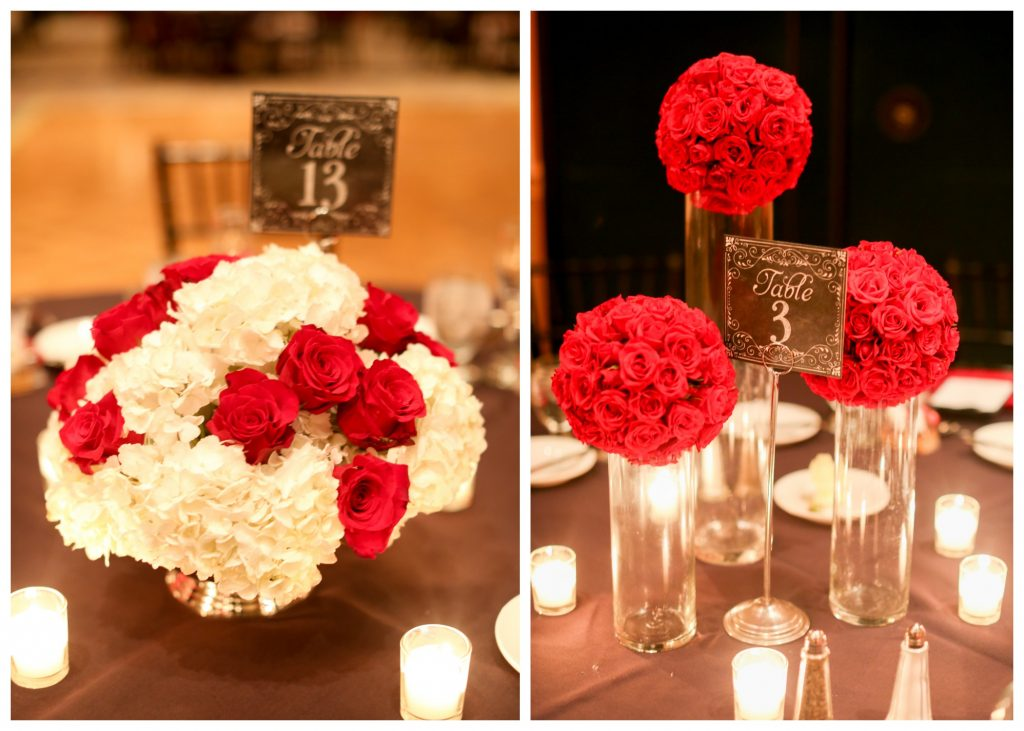Red Floral Arrangements Centerpieces Tables   Red & Black Wedding Classic Romantic Dark Mission Inn Resort Anna Christine Events Wings of Glory Photography