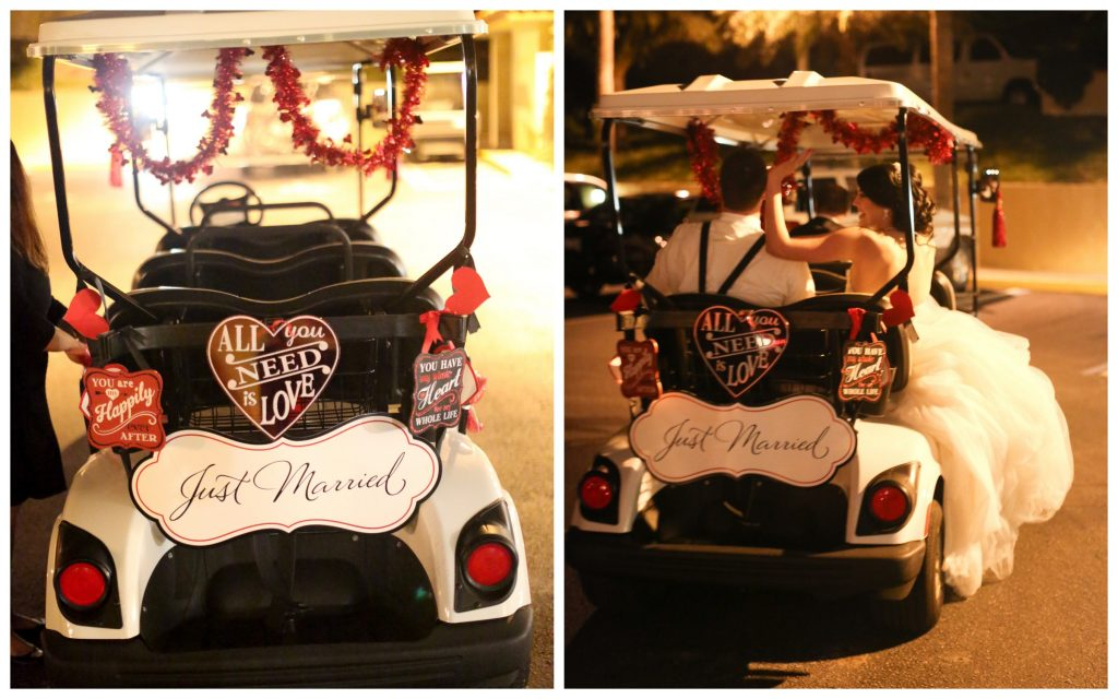 Just Married Golf Cart Exit   Red & Black Wedding Classic Romantic Dark Mission Inn Resort Anna Christine Events Wings of Glory Photography
