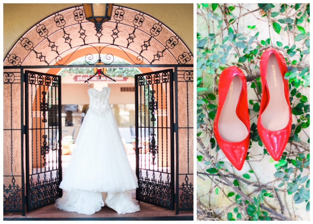 Wedding Dress Hanging Red Shoes   Red & Black Wedding Classic Romantic Dark Mission Inn Resort Anna Christine Events Wings of Glory Photography