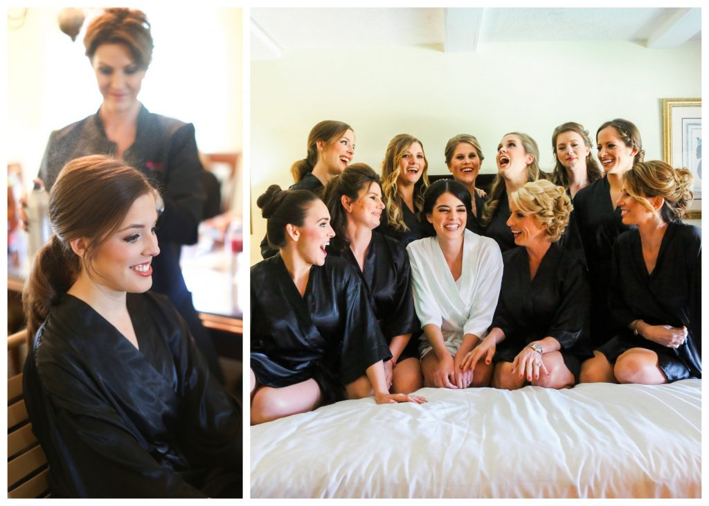 Getting Ready Girls Face Design Team Bride Bridesmaids   Red & Black Wedding Classic Romantic Dark Mission Inn Resort Anna Christine Events Wings of Glory Photography