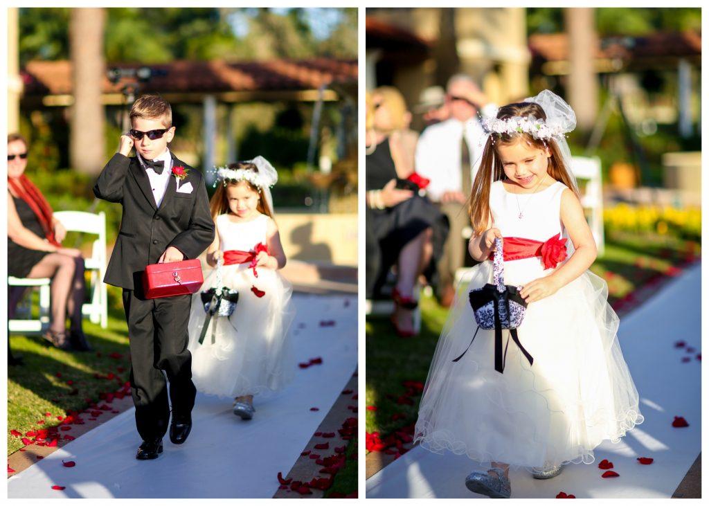 Secret Agent FBI Ring Bearer Flower Girl   Red & Black Wedding Classic Romantic Dark Mission Inn Resort Anna Christine Events Wings of Glory Photography