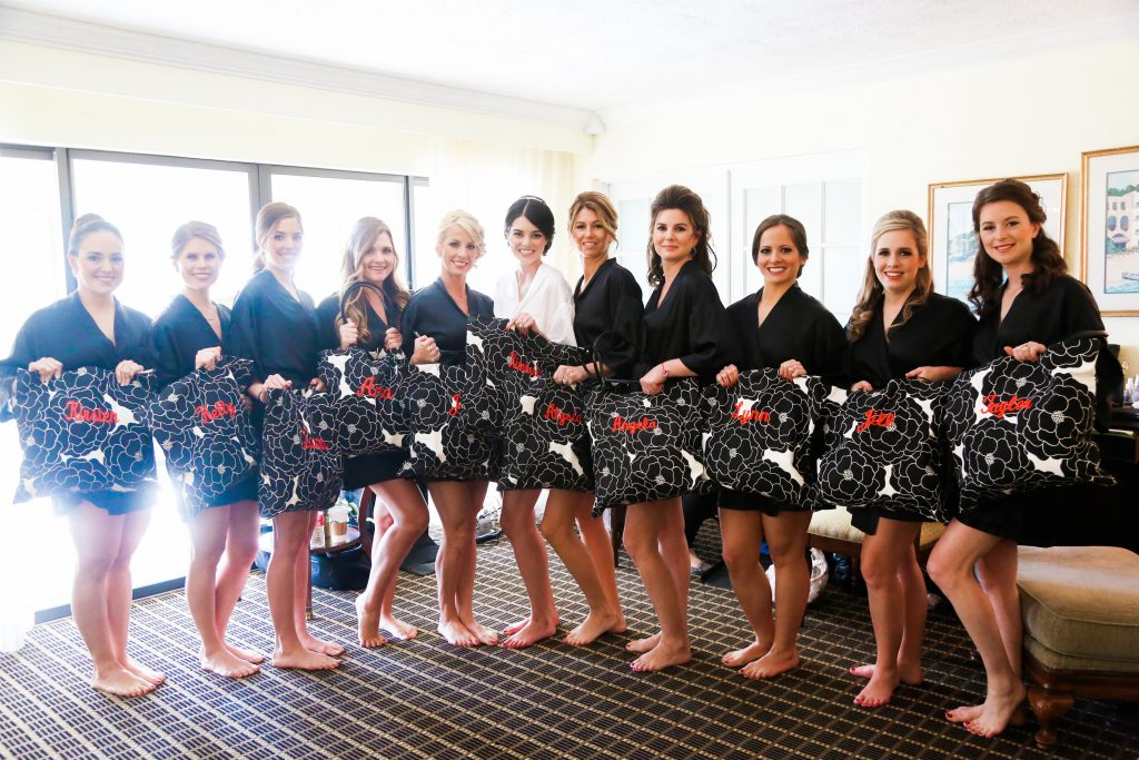 Bride Bridesmaids Getting Ready Gifts Bags   Red & Black Wedding Classic Romantic Dark Mission Inn Resort Anna Christine Events Wings of Glory Photography