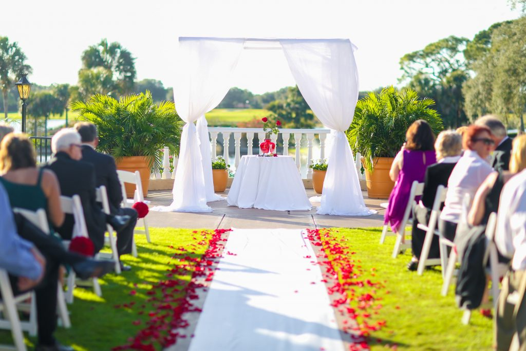 Ceremony Rose Petals Aisle   Red & Black Wedding Classic Romantic Dark Mission Inn Resort Anna Christine Events Wings of Glory Photography