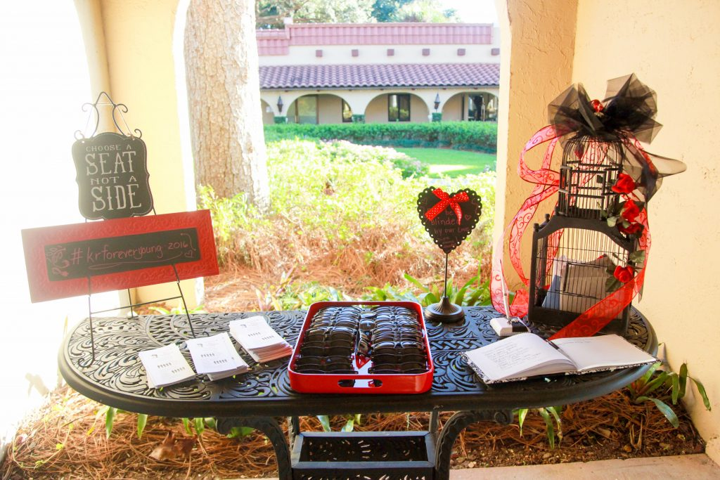 Sunglasses Guest Book Programs Ceremony   Red & Black Wedding Classic Romantic Dark Mission Inn Resort Anna Christine Events Wings of Glory Photography