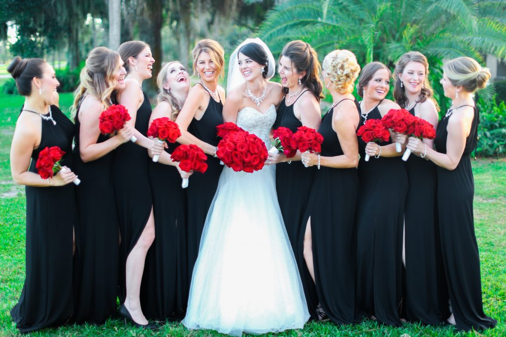 Bride & Bridesmaids Photo Bouquets Red Roses Black Dresses Lee Forrest Design   Red & Black Wedding Classic Romantic Dark Mission Inn Resort Anna Christine Events Wings of Glory Photography