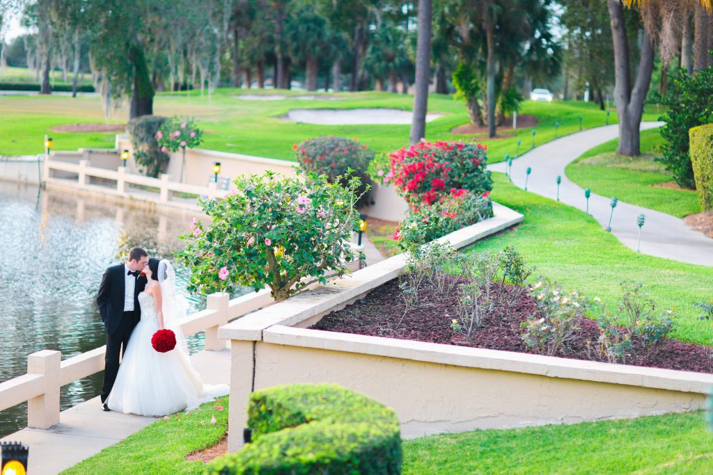 Bride & Groom Outdoor Venue   Red & Black Wedding Classic Romantic Dark Mission Inn Resort Anna Christine Events Wings of Glory Photography