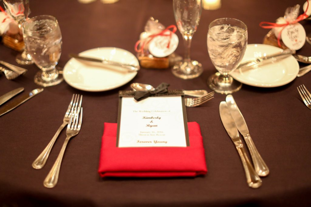 Table Setting Red Roses Reception   Red & Black Wedding Classic Romantic Dark Mission Inn Resort Anna Christine Events Wings of Glory Photography