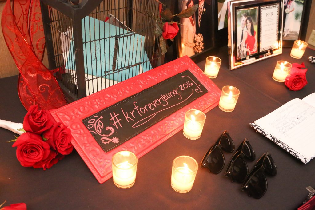 Personalized Customized Hashtag Chalkboard Sign Candles   Red & Black Wedding Classic Romantic Dark Mission Inn Resort Anna Christine Events Wings of Glory Photography