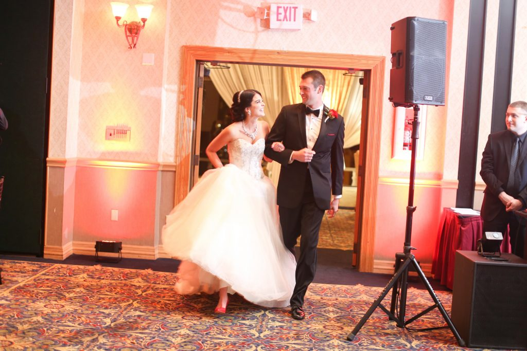 Grand Entrance Bride & Groom Reception   Red & Black Wedding Classic Romantic Dark Mission Inn Resort Anna Christine Events Wings of Glory Photography