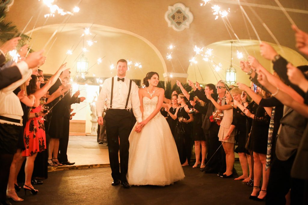 Sparkler Exit Bride & Groom   Red & Black Wedding Classic Romantic Dark Mission Inn Resort Anna Christine Events Wings of Glory Photography