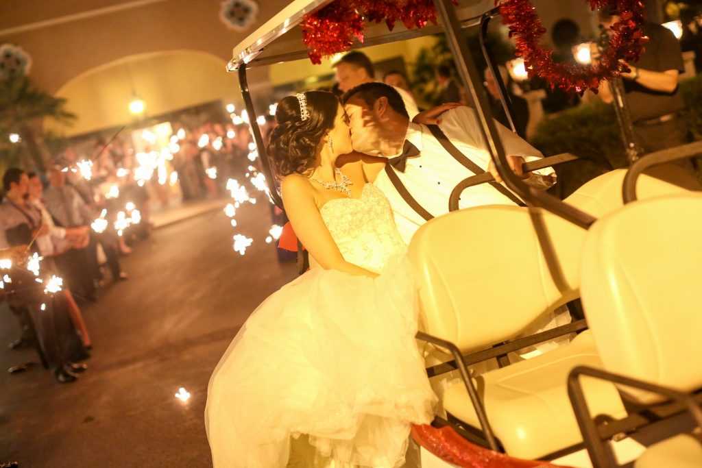 Bride & Groom Exit Golf Cart Sparkler   Red & Black Wedding Classic Romantic Dark Mission Inn Resort Anna Christine Events Wings of Glory Photography
