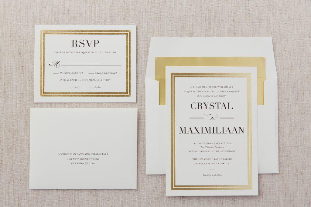 Invitations | Travel Inspired Themed Glamorous Gold & White Wedding Luxmore Grande Estate Anna Christine Events Justin DeMutiis Photography