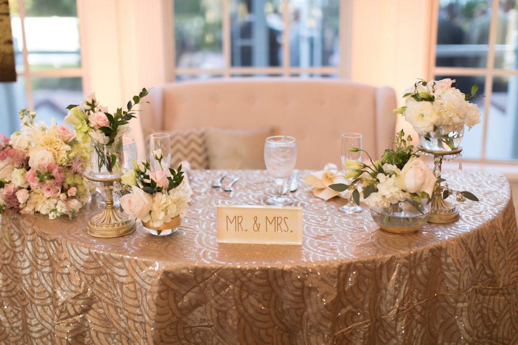 Sweetheart Table Mr & Mrs Flowers | Travel Inspired Themed Glamorous Gold & White Wedding Luxmore Grande Estate Anna Christine Events Justin DeMutiis Photography