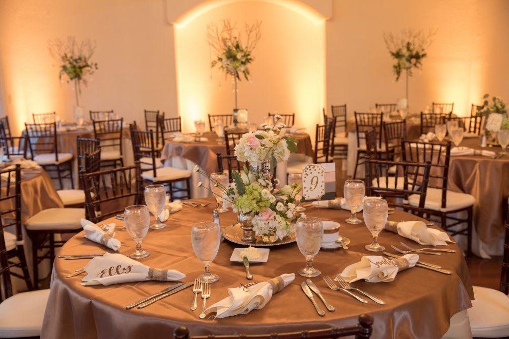 Table Settings Napkins Namecards | Travel Inspired Themed Glamorous Gold & White Wedding Luxmore Grande Estate Anna Christine Events Justin DeMutiis Photography