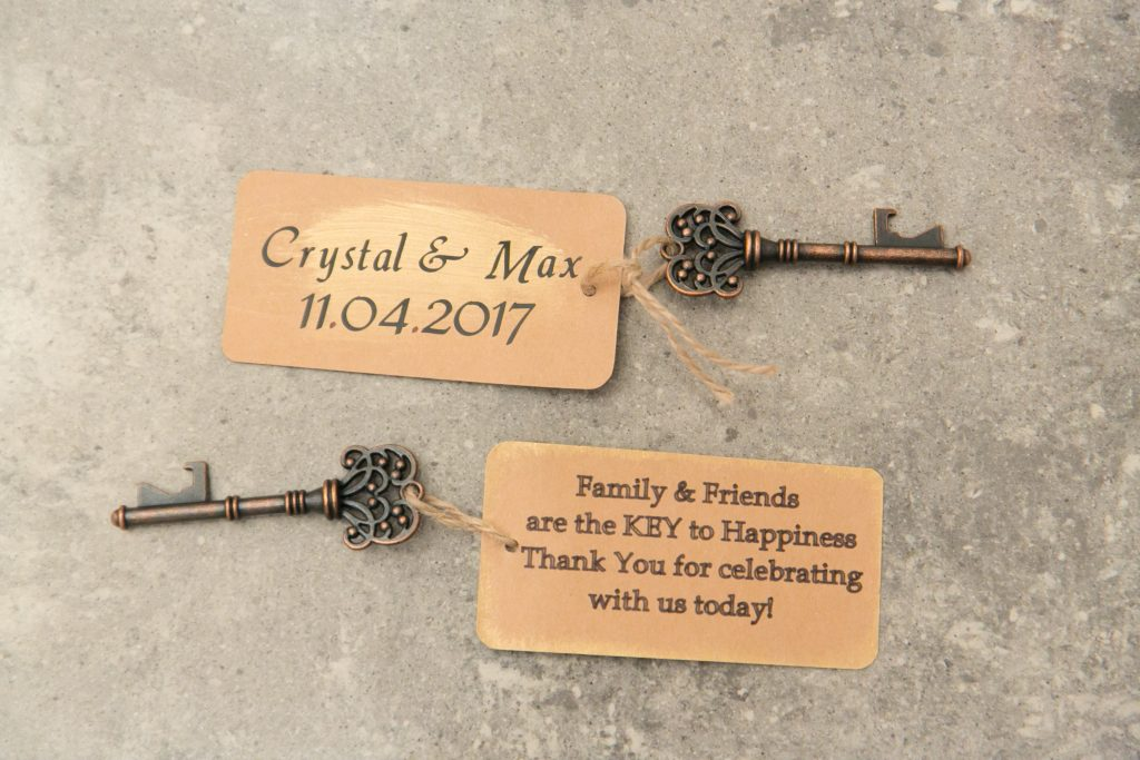 Favors Keys | Travel Inspired Themed Glamorous Gold & White Wedding Luxmore Grande Estate Anna Christine Events Justin DeMutiis Photography
