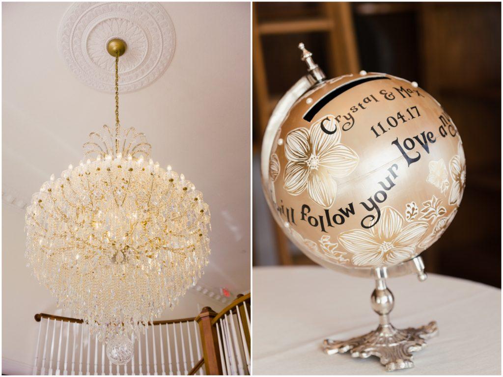 Globe Decoration Chandelier | Travel Inspired Themed Glamorous Gold & White Wedding Luxmore Grande Estate Anna Christine Events Justin DeMutiis Photography
