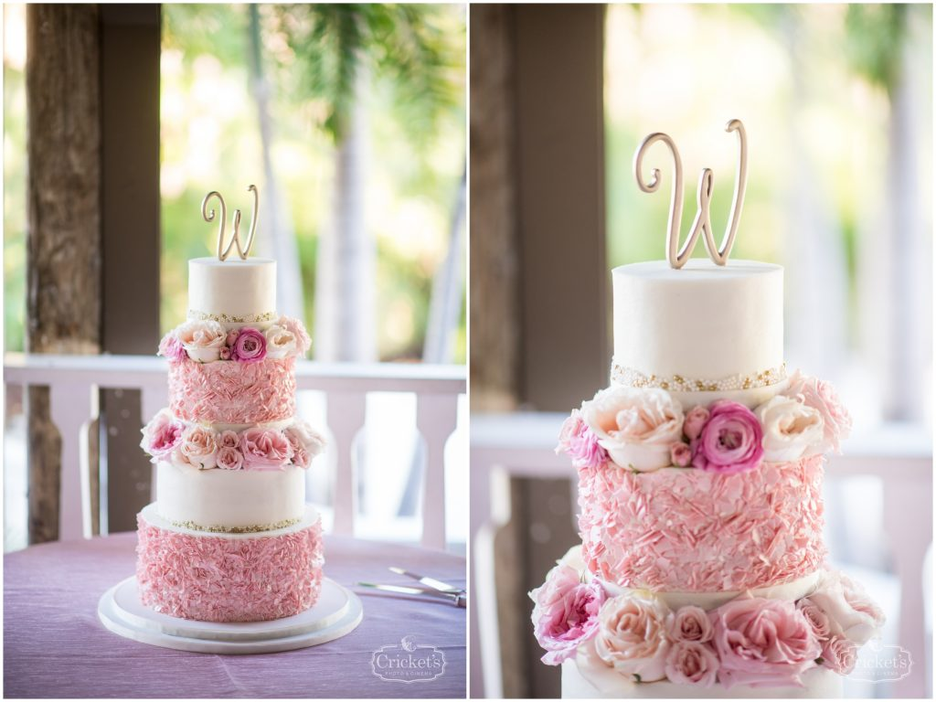 Sprinkles Custom Cakes Wedding Cake Multi-Tier Cake Topper   Classic Pink & White Beach Wedding Paradise Cove Lakeside Orlando Anna Christine Events Cricket's Photography