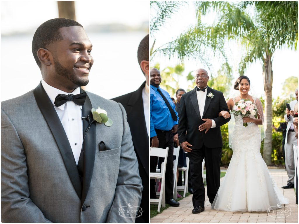 Groom Waiting for Bride Aisle   Classic Pink & White Beach Wedding Paradise Cove Lakeside Orlando Anna Christine Events Cricket's Photography