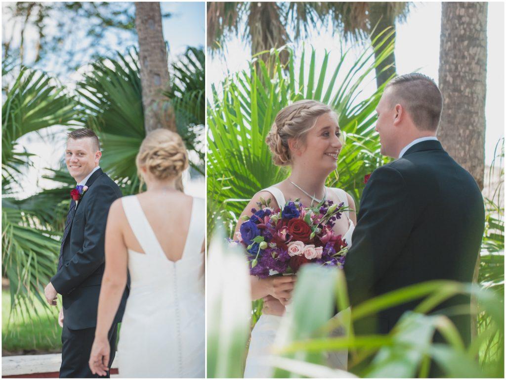 Bride & groom first look | Nerd Geek Chic Wedding Theme Game of Thrones Harry Potter Super Mario Orlando Science Center Anna Christine Events Orlando Wedding Planner Ashley Jane Photography