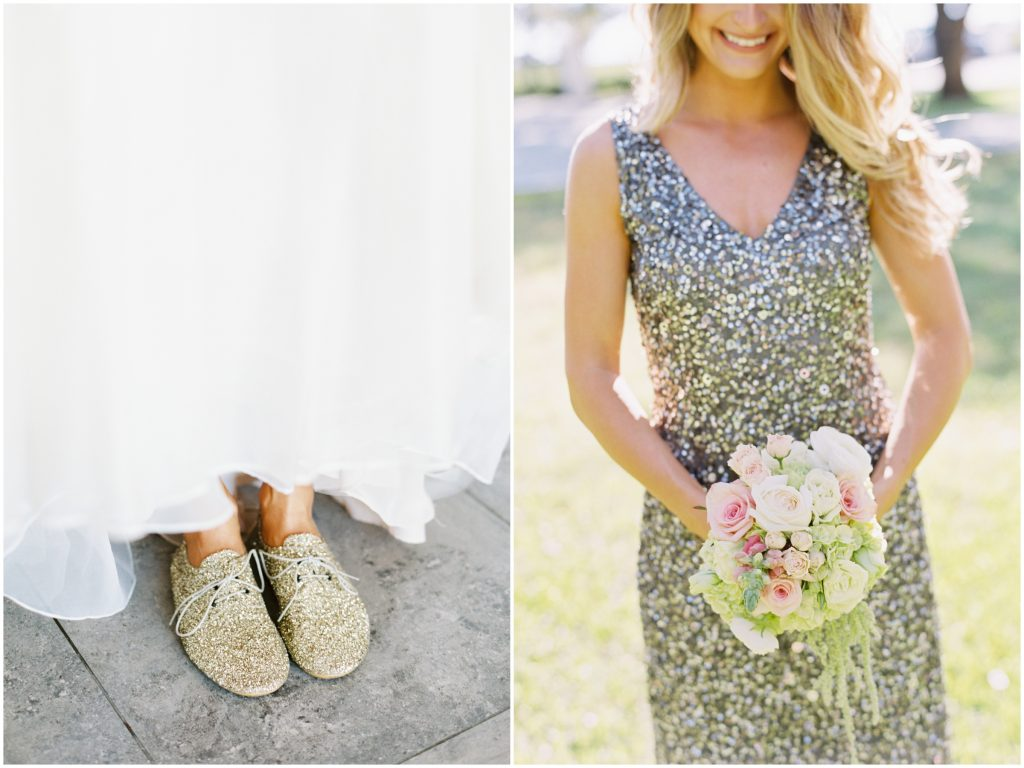 Sparkly Dress Bridesmaid Bouquet Sparkly Shoes Bride | Travel Inspired Themed Glamorous Gold & White Wedding Luxmore Grande Estate Anna Christine Events Justin DeMutiis Photography
