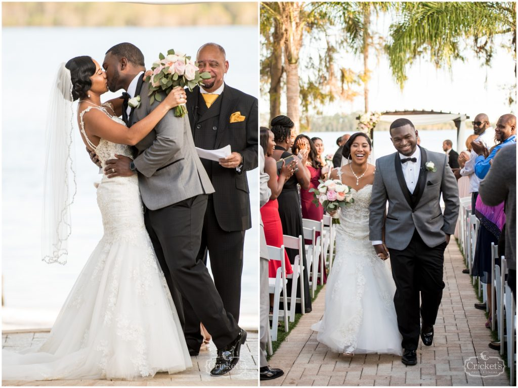 Bride & Groom Kissing Ceremony Outdoor   Classic Pink & White Beach Wedding Paradise Cove Lakeside Orlando Anna Christine Events Cricket's Photography