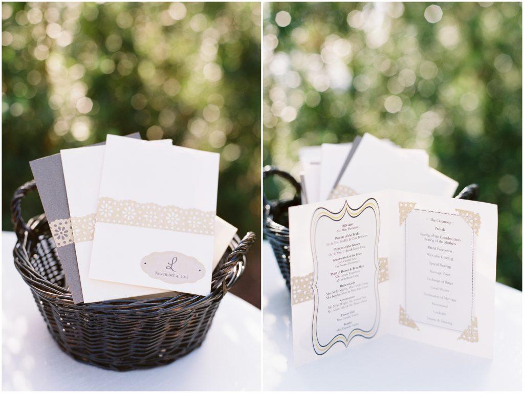 Wedding Programs Basket | Travel Inspired Themed Glamorous Gold & White Wedding Luxmore Grande Estate Anna Christine Events Justin DeMutiis Photography